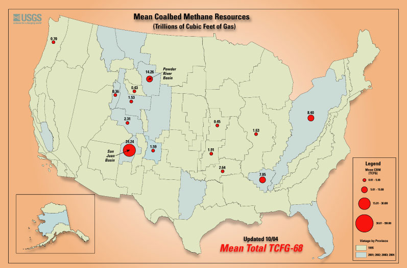 Figure 1.8: Mining, geological and environmental engineers frequently use geologic maps when working on energy development issues. This geologic map shows the distribution of major coal bed methane deposits in the United States. Engineers design plans for pumping methane out of coal beds and capturing it for use as a natural gas fuel source. Image from URL: http://serc.carleton.edu/images/research_education/cretaceous/cbm_map.jpg