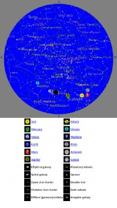 Figure 1.10: This is a map of the night sky visible from Helena, MT on December 30, 2008. If you viewed the night sky above Helena using a telescope, you would see many of the constellations and planets indicated on this sky map. Image from URL: http://www.fourmilab.ch/cgi-bin/Yoursky
