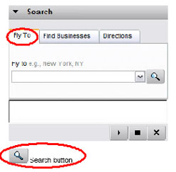 Figure 1.22: The Search dialog box can find specific named locations via the Fly To tab, and can also be used to Find Businesses and Directions.