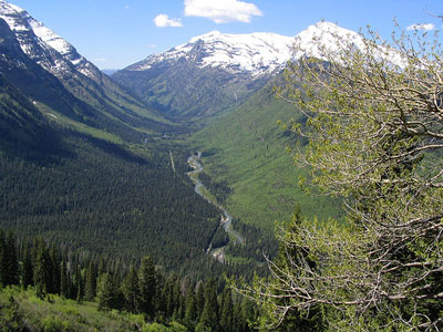 Figure 3.1: This U-shaped river valley, near Glacier Park, shows features typical of many Montana landscapes.