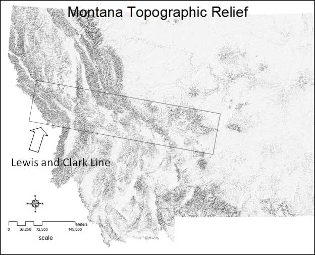 Figure 3.4: The Lewis and Clark line along the Clark Fork River valley is an example of a landscape where tectonic plates slide past one other. The resulting landscape is dominated by long linear valleys and ridges.