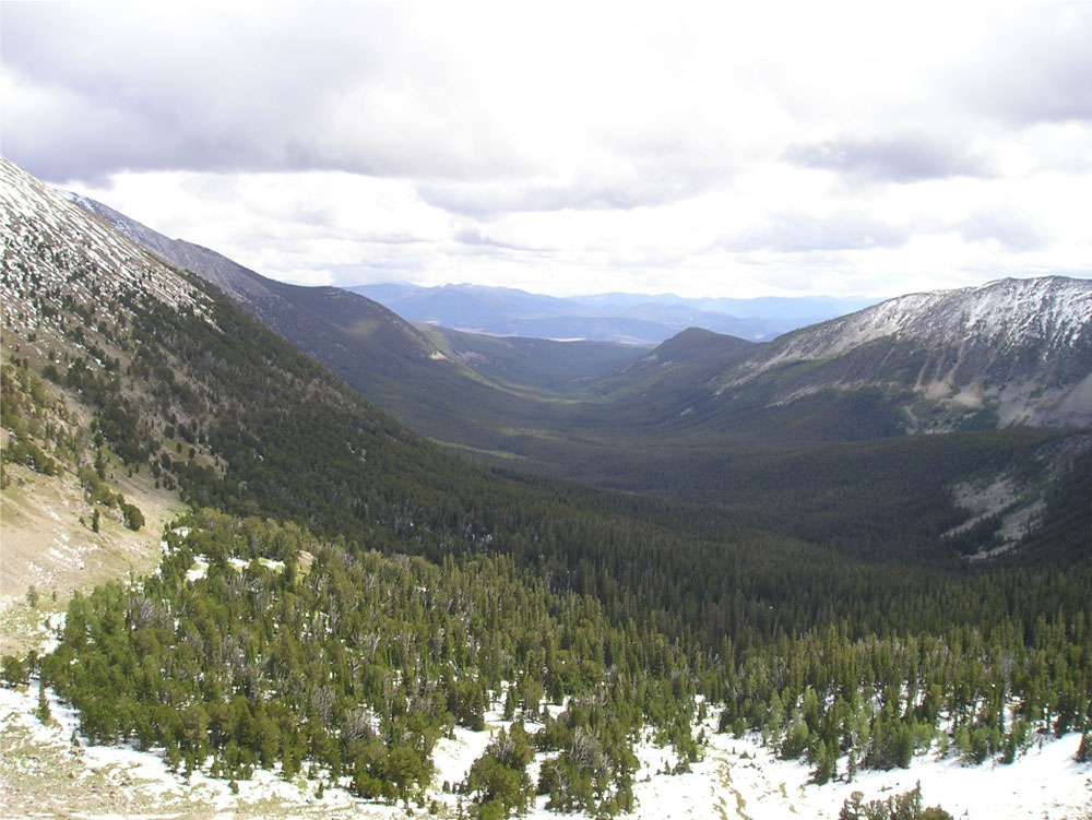 Figure 3.8: This photo was taken from a cirque at the head of Seymour Valley in the Anaconda Range. The cirque, or bowl-shaped depression, was the source for the glacier that scoured out the U-shaped valley shown here. Click on the image to open a larger version in a new window.