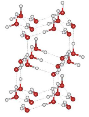 Notice the greater openness of the ice structure (at right). This is necessary to ensure the strongest degree of hydrogen bonding in a uniform, extended crystal lattice. Images from URL:http://ssrl.slac.stanford.edu/nilssongroup/pages/project_liquid_structure.html