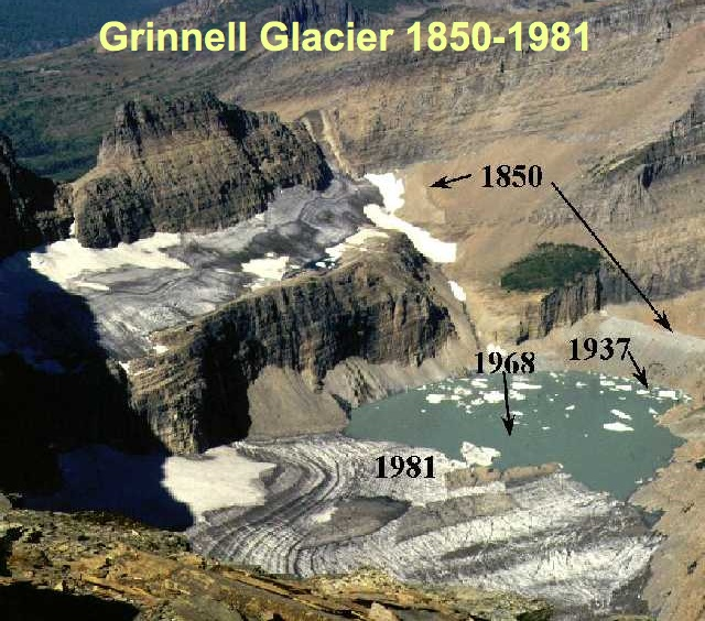 Figure 5.25: A 1981 aerial photograph of Grinnell Glacier in Glacier National Park with indications of the approximate former extent of the glacier. This glacier has retreated from a total extent of ~2.3 square kilometers circa 1850 to ~1.1 square kilometers in 1993, and is now distributed in two major and five minor segments. Like other glaciers in Glacier National Park, it is predicted that Grinnell Glacier will disappear by 2030 under current projections for the rate and extent of global warming. Image from URL: http://www.globalwarmingart.com/wiki/File:Grinnell_Glacier_jpg