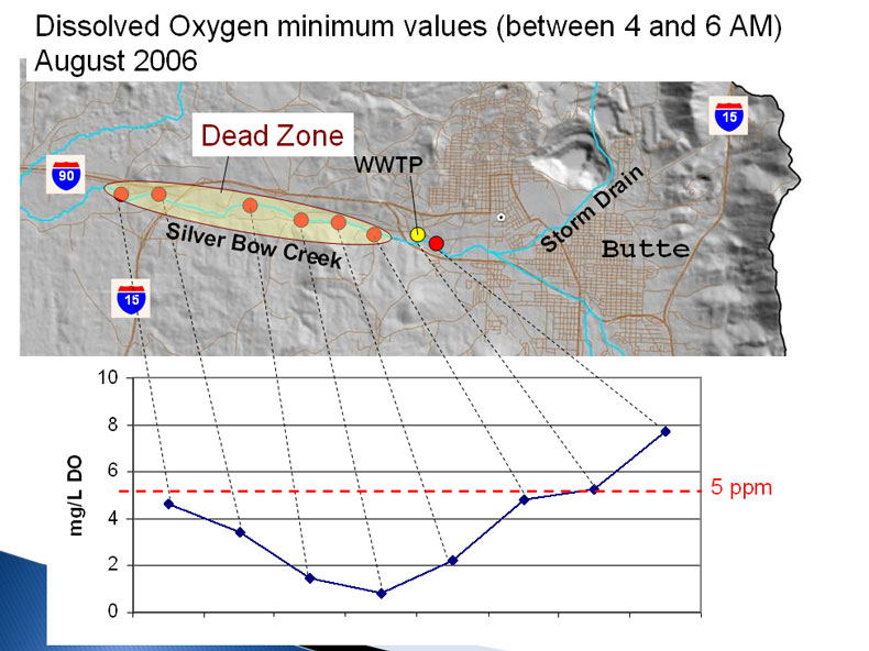 Figure 4.11: Dissolved oxygen concentrations on Silver Bow Creek vary significantly depending on the time of day. Image from Dr. Chris Gammons and Beverly Plump, Montana Tech