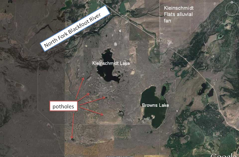 Kleinschmidt Lakes: These large and small potholes date back to the end of the last glaciation. Potholes form where ice blocks buried in glacial till melted over a period of hundreds or thousands of years. The potholes are the cavities left by the ice blocks.