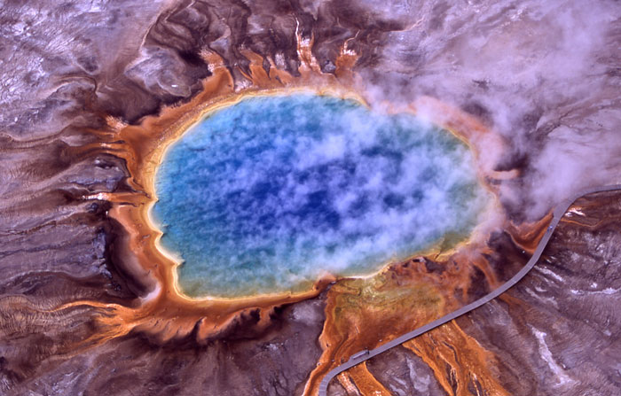 Figure 3.20: Archaea were first detected in extreme environments, such as hot springs like Grand Prismatic Spring in Yellowstone National Park. Archaea were initially viewed as extremophiles that exist only in habitats such as hot springs and salt lakes. By the end of the 20th century, microbiologists realized that the archaea are common in much less extreme habitats, such as soils and oceans. Image from URL: http://en.wikipedia.org/wiki/Archaea