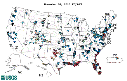 Figure 9.20: Every day the United States Geological Service (USGS) collects real-time water quality data at sampling stations around the country. This national map shows data on specific conductance (uS/cm) at these stations on November 8, 2010. The map can be changed to show different parameters such as temperature, conductance, pH, dissolved oxygen, turbidity and discharge. The map can be also be animated to show how these parameters have changed over the last month or year. Image from URL: http://waterwatch.usgs.gov/wqwatch/