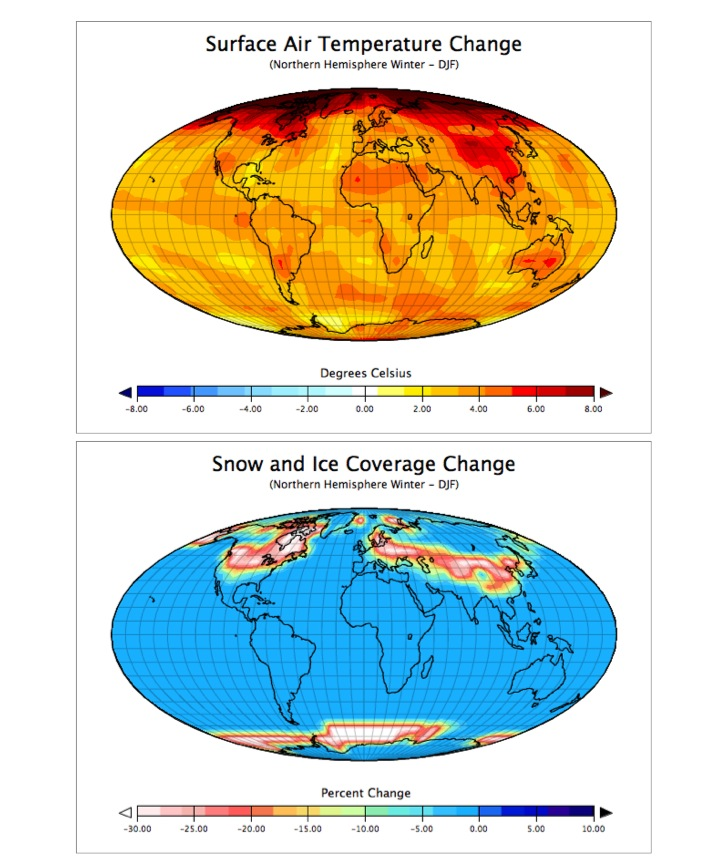 "Figure 9.22: Maps of the changes in a) temperature and b) snow and ice coverage predicted for the year 2100 using the EdGCM software running the most extreme IPCC scenario, A1F1 from a ""control simulation."" The ""control simulation"", also run using the EdGCM, approximated the climate for the period 1951-1980 using 1958 greenhouse gas values. Image from URL: http://serc.carleton.edu/eet/envisioningclimatechange/index.html"