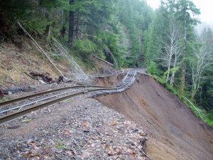 Figure 9.9: Erosion along train tracks in Oregon following a severe windstorm in 2007. Image from URL: http://www.wrh.noaa.gov/pqr/paststorms/20071203/